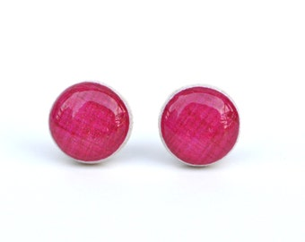 Fruit punch pink linen stud earrings, wood pink post earrings, pink studs eco friendly jewelry, wood earrings, minimalist jewelry