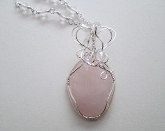 Wire Wrapped Rose Quartz Pendant/Necklace Argentium