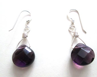 Amethyst Facetet Teardrop Argentium Sterling Silver Earrings