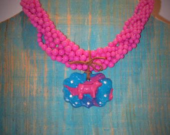 Mini Belt Buck Clay Jewelry Pendant and Necklace