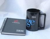 "Vintage IBM ""Storage"" black mug cup and notebook work tech computer logo lot"