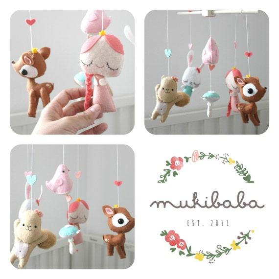 Woodland baby mobile princess baby mobile girl by mukibaba for Princess crib mobile