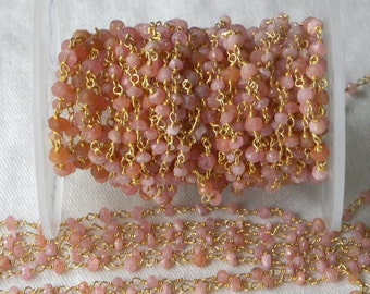 Pink Moonstone Rosary Chain 9 to 18 Inches Gold on Brass Wire 3.5mm Semiprecious Faceted Gemstone Beads Take 10% Off Jewelry Supplies Chain