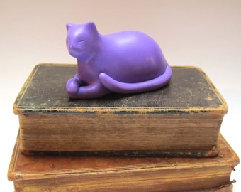 Dozing Fat Cat Herman - lavender purple hand made OOAK figurine polymer clay laid back cool cat