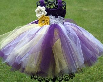 Purple Yellow White Baby Toddler Tutu Dress Childs Tutu Dress  Flower Girl Tutu Dress Crochet Tutu Dress Eggplant Purple
