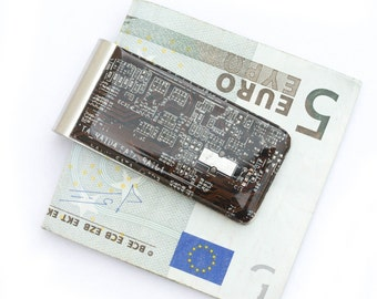 Money clip - geek gift for him, recycled circuit board money clip, gift for husband, groomsmen gift