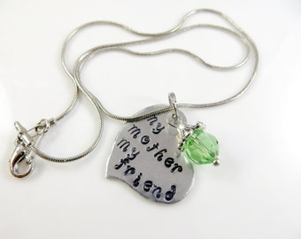 Hand stamped mother necklace