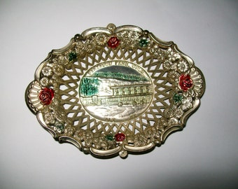 Vintage Souvenir Dish Berthoud Pass Colorado Silver Floral Design Made in Japan