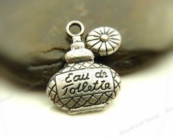 Bulk 18 Perfume Bottle Charms (Double Sided) Antique Silver Tone Metal 18x15mm - Nicely Detailed - BG34