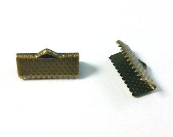 50 PCS - 13MM Ribbon Crimp Cord Clamp Finding End Bronze R0007