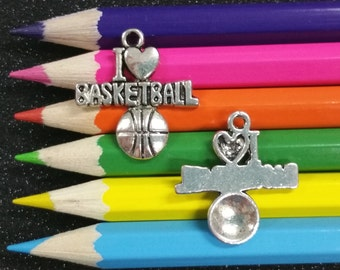 5 PCS - I Love Heart Basketball Sports Message Silver Charm Pendant C0611