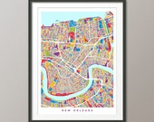New Orleans Map, New Orleans Louisiana City Street Map, Art Print (1800)