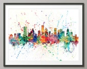 Houston Skyline, Houston Texas Cityscape Art Print (1963)