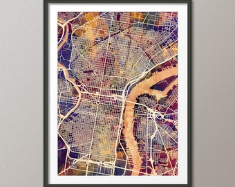 Philadelphia Map, Philadelphia Pennsylvania City Street Map, Art Print (1918)