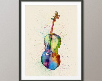 Cello, Abstract Watercolor Music Instrument Art Print (2003)