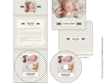Luxe DVD Case and DVD label - Photo print release included- Baby dots- E603