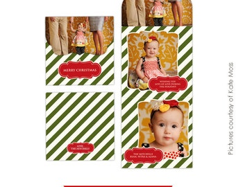 INSTANT DOWNLOAD - Psd Holiday Folded Luxe Card Template - Luxe vintage classic - E161