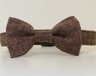Chocolate Brown Tweed Menswear Bow Tie Dog Collar Summer Collar Wedding Accessories Made to Order