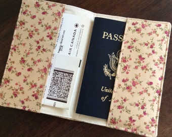 Floral Passport Cover, Fabric Passport Holder, International Travel, Passport Protector, Passport Case, Study Abroad Gift READY TO SHIP