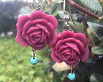 Plum roses with turquoise Flower Child Bohemian Earrings