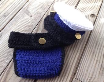 Coast Guard Uniform Dress Cover and Diaper Cover in Newborn Size - Newborn Photography Props