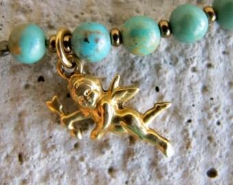 Handmade Turquoise Charm Bracelet - Genuine Turquoise with Cupid Charm