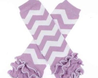 Purple and white legwarmers Ruffle bottoms one-size-fits-all boutique style birthday photo shoot outfit add on leg warmer wamers chevron