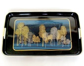 Asian Tree Design Rectangle Shape Serving Tray with Handles, Mid Century Black Lacquer Ware Beverage Drink Serving Tray,