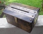 SMALL Personalized Wooden Wedding Treasure Chest Card Box with Card Slot Carved Burnt Custom Name