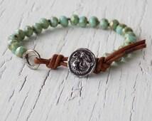 Sea foam Mermaid Bracelet, Leather Mermaid Braclet, Beach Bracelet, Sea Foam Green Jewelry, Knotted Bracelet, Boho Bohemian Beaded Bracelet