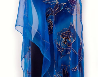 Hand painted silk chiffon scarf/Blue painting flowers/Royal blue long scarf/Handpainted flowers/Long chiffon scarf painted by hand/S0058