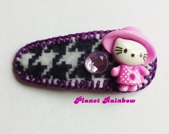 Kawaii Collage Hair Clip - Purple - Houndstooth