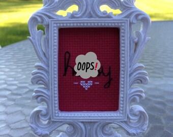 Mini White Boroque Framed Cross Stitch - Hussy