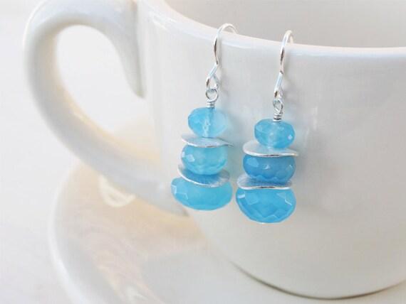 Silver & Blue Chalcedony Drop Earrings - Sterling Silver - SALE