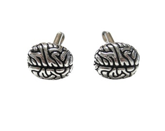 Silver Toned Anatomy Brain Cufflinks