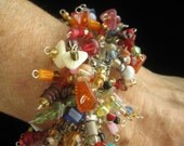 SALE Colorful Cha-Cha Style Vintage Bracelet Holds at Least 80 Separate Multi Bead Dangles Loaded with all Sizes, Shapes & Colors of Beads.