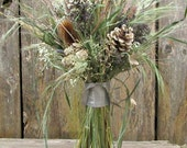 Blue and Neutral Natural Dried Bouquet - Wild River Bridal Bouquet - Lavender, Cones, Baby's Breath, Twigs, Teasel & Grasses