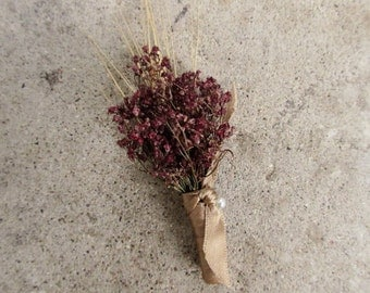 Simple Marsala Summer Wheat Boutonniere - Dried Wedding Boutonniere - Wheat & Baby's Breath
