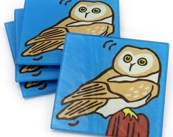 Owl Tempered Glass Coasters