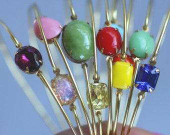 Vintage Stone Bangle, Gold Bangle, Brass Bracelet, Colorful,Rainbow Jewelry, Multi Color Summer Jewelry, Stack-able Bangles, Gold Bracelets,