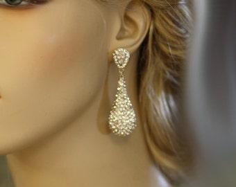 Bridal Earrings, Wedding ,Swarovski Crystal,  chandelier bridal earrings, Drop earrings, kim kardashian ,Statement