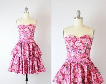 vintage strapless floral dress / LAURA ASHLEY floral dress / peplum skirt dress / pink chintz floral dress / Everbloom dress