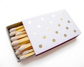 Polka Dot Matchboxes Wedding Favors - Custom Foil Stamped Matches Rehearsal Dinner Bridal Shower - Many Colors - Personalized