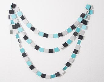 LAST ONE - Paper Garland, Little Man Baby Shower, Baby Shower Shower, Little Man Birthday Party, Aqua Black and Gray