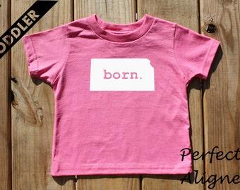 Kansas Home State BORN Unisex Toddler T-shirt - Baby Boys or Girls