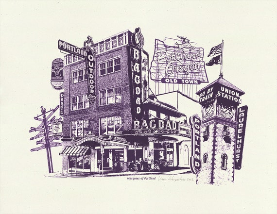 Marquees of Portland - Art Print of Portland, Oregon - 8.5x11 and 11x14