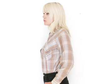 Vintage Plaid Western Shirt Paper Thin Snap Front Yoke Beige Brown 70s