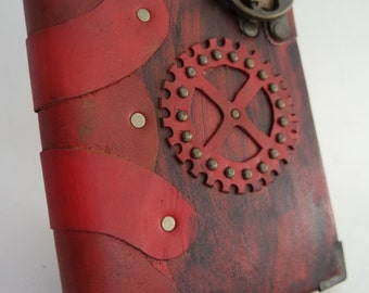 handmade Leather  Bound Journal, gear wheel emblem leather sketchbook ,  Notebook , Leather Diary.Leather notebook , leather bound