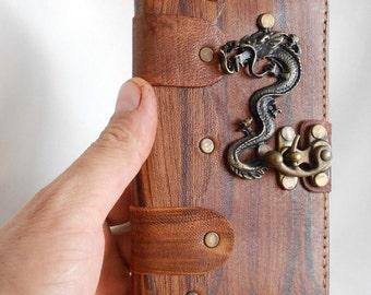 Handmade Samsung Galaxy Note 4 Leather  Case / Cover / handmade leather case with Chinese Dragon pendant &