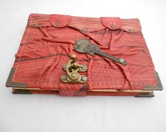Leather bound journal, Guitar emblem handmade leather notebook, sketchbook , handmade Leather Diary.Leather notebook , leather bound &